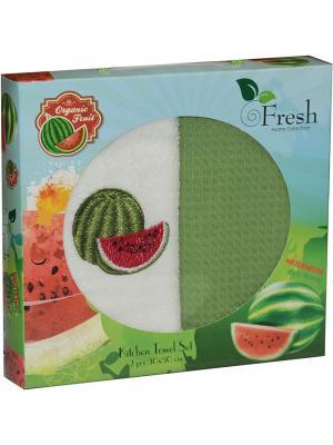 Кухонные полотенца в подарочной коробке ЛЮКС  2 шт., 30х50 см, 100% хлопок Dorothy's Нome. Цвет: салатовый, бежевый