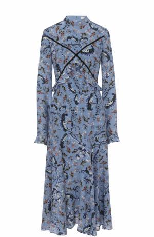 Шелковое платье-миди с цветочным принтом Erdem. Цвет: голубой