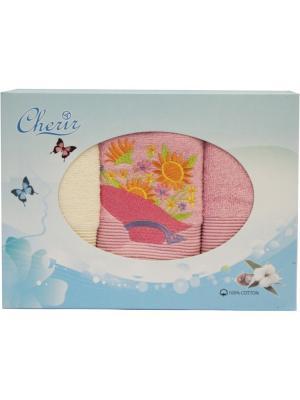 Набор полотенец с вышивкой Шляпка 3 шт (30*50). Dorothy's Нome. Цвет: светло-бежевый,бледно-розовый,оранжевый