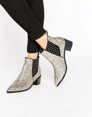 Office Серебристые блестящие ботинки челси Amber. Цвет: серебряный