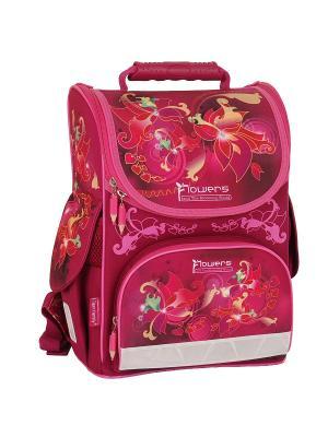 Ранец школьный NATURE QUEST Flowers Tiger Family. Цвет: розовый