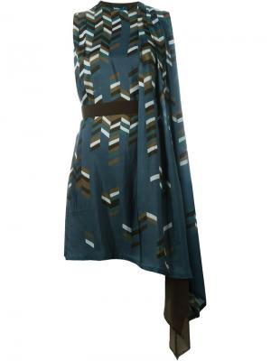 Драпированное платье асимметричного кроя Kolor. Цвет: многоцветный