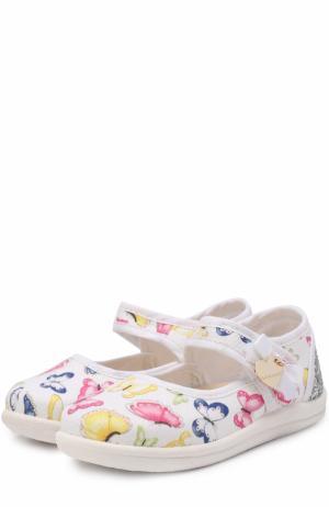 Комбинированные туфли с принтом и застежками велькро Monnalisa. Цвет: белый