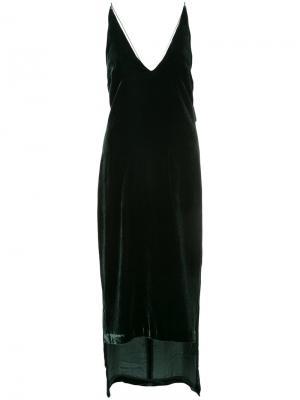 Бархатное платье с удлиненным подолом Dion Lee. Цвет: зелёный