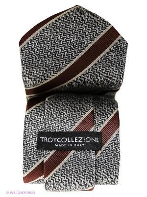 Галстук Troy collezione. Цвет: серый, темно-бордовый