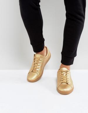 ASOS Золотистые кроссовки с эффектом металлик. Цвет: золотой