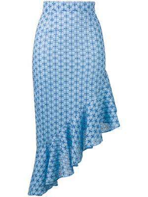 Приталенное платье с узором и оборками Daizy Shely. Цвет: синий