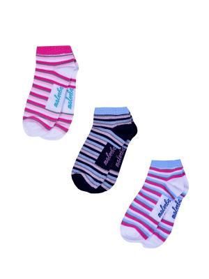 Носки женские,комплект 3шт Malerba. Цвет: черный, белый, розовый