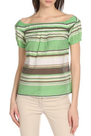 Блузка Daniel Hechter. Цвет: зелено-бело-коричневый