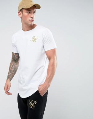 SikSilk Белая футболка с золотистым логотипом. Цвет: белый