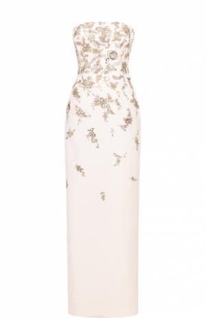 Платье-бюстье с высоким разрезом и контрастной вышивкой Oscar de la Renta. Цвет: белый