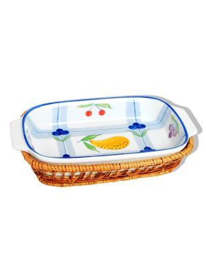Форма для запекания в плетеной корзине, керамика (духовка/гриль/микроволновка) 0,8 л BAYERHOFF. Цвет: молочный