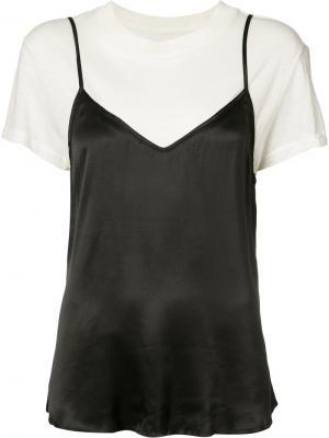 Комбинированная футболка Rta. Цвет: чёрный