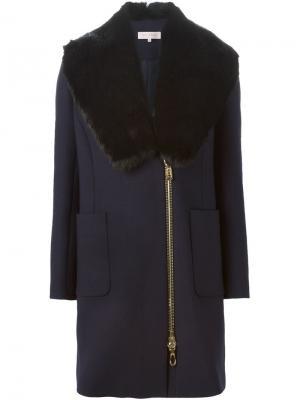 Пальто со съемным меховым воротником Dice Kayek. Цвет: синий
