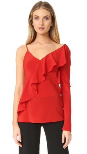 Асимметричная блуза с оборками на рукаве и спереди Diane von Furstenberg. Цвет: красный
