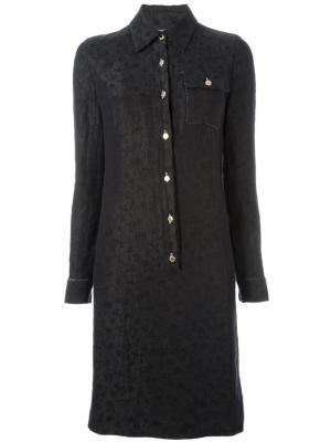 Платье-рубашка с цветочным узором Jean Louis Scherrer Vintage. Цвет: чёрный