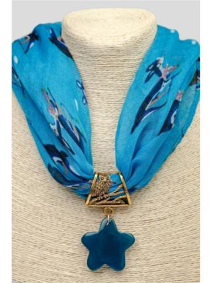Кулон-украшение для платка Anastasiya Usoltseva. Цвет: темно-синий, бронзовый, синий
