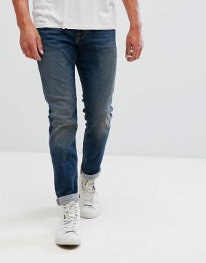 Selected Homme Прямые джинсы из выбеленного итальянского денима. Цвет: синий