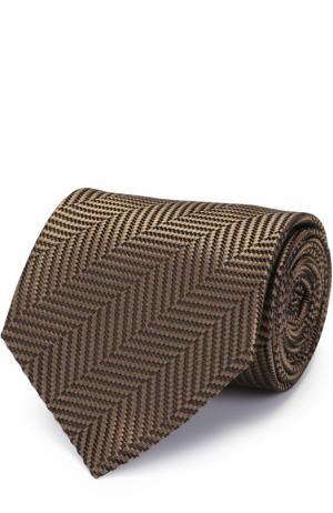 Шелковый галстук с узором Tom Ford. Цвет: коричневый