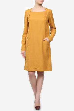 Шерстяное платье с карманами ANNA SINITSYNA. Цвет: оранжевый