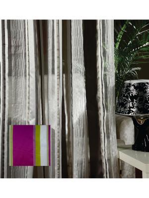 Тюль, органза Яркие полоски, 300*275 см Ambesonne. Цвет: белый, зеленый, фуксия