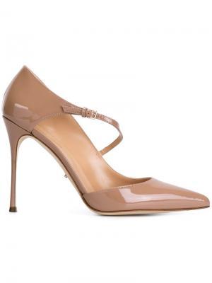 Туфли с ремешком на пряжке Sergio Rossi. Цвет: телесный