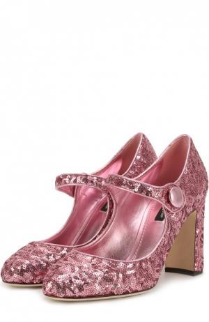 Туфли Vally с пайетками Dolce & Gabbana. Цвет: розовый