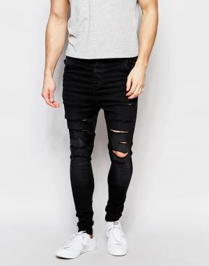 SikSilk Рваные джинсы скинни с заниженным шаговым швом. Цвет: черный