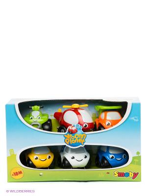 Набор машинок Vroom Planet 6 шт Smoby. Цвет: голубой, красный, оранжевый, желтый, белый, синий, светло-зеленый