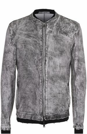 Кожаная куртка на молнии с хлопковыми манжетами Salvatore Santoro. Цвет: черный