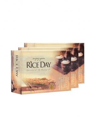 Мыло туалетное с экстрактом рисовых отрубей Riceday 100г х 3 шт Cj Lion. Цвет: желтый