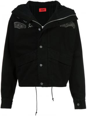 Cropped paisley denim jacket 424 Fairfax. Цвет: чёрный