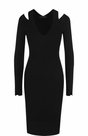 Вязаное платье-футляр с V-образным вырезом The Row. Цвет: черный