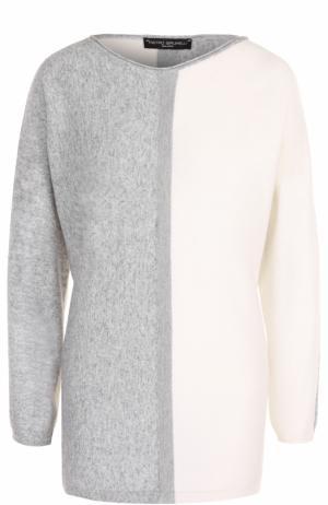 Пуловер прямого кроя с вырезом-лодочка Pietro Brunelli. Цвет: серый