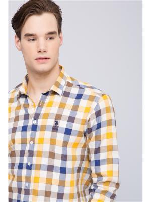 Рубашка U.S. Polo Assn.. Цвет: желтый, белый, синий