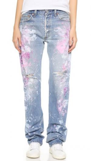 Джинсы-бойфренды Basic с эффектом поношенности Rialto Jean Project. Цвет: розовый/белый поношенный