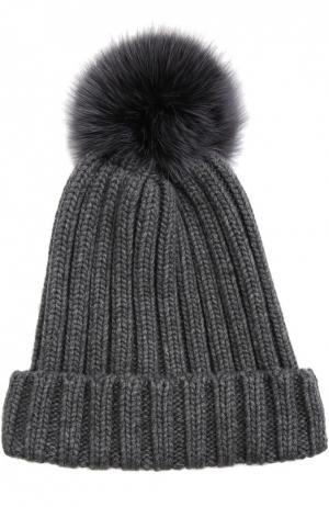 Вязаная шапка с меховым помпоном Nima. Цвет: темно-серый