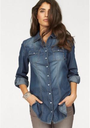 Джинсовая блузка Arizona. Цвет: синий потертый
