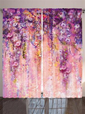 Комплект фотоштор Фиолетовые лианы, белые цветы, коричневык ветки, разноцветные брызги, 290*265 см Magic Lady. Цвет: бледно-розовый, оранжевый, черный, сиреневый, лиловый, малиновый