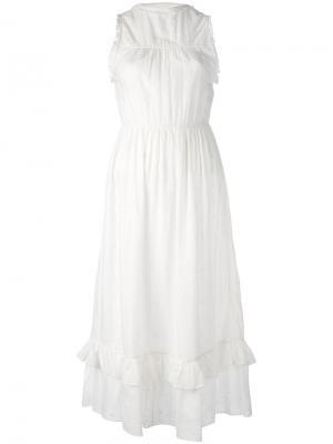 Платье с оборкой Ulla Johnson. Цвет: белый