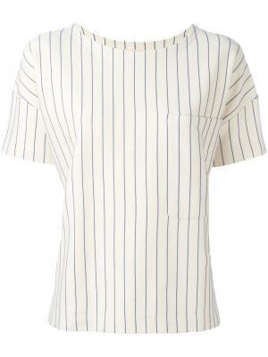 Блузка в тонкую полоску с нагрудным карманом Bellerose. Цвет: телесный