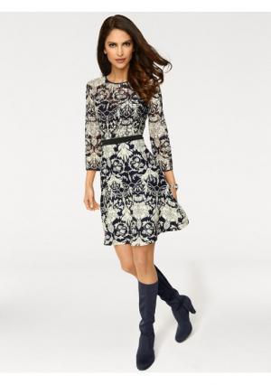 Кружевное платье Ashley Brooke. Цвет: темно-синий/молочно-белый