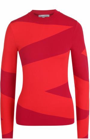 Облегающий пуловер с длинным рукавом и принтом Oscar de la Renta. Цвет: разноцветный