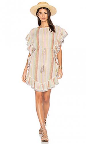 Расклешенное платье с бахромой tropicale Zimmermann. Цвет: белый