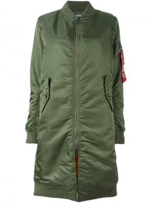 Пальто на молнии Alpha Industries. Цвет: зелёный