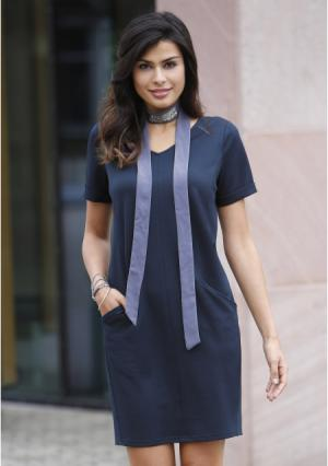 Платье MY STYLE. Цвет: серый, синий