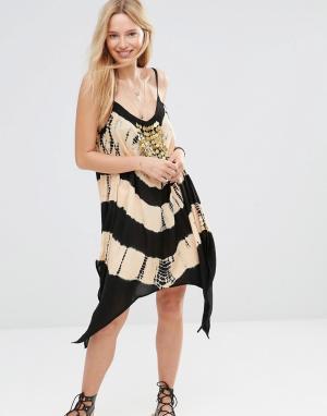 Anmol Пляжное платье мини с принтом тай-дай и отделкой монетками. Цвет: черный
