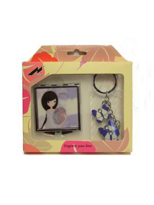 Набор (зеркало и брелок) Aroma-Garden. Цвет: синий