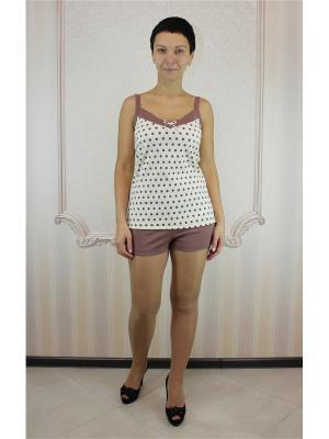 Пижама с шортами Агапэ. Цвет: коричневый
