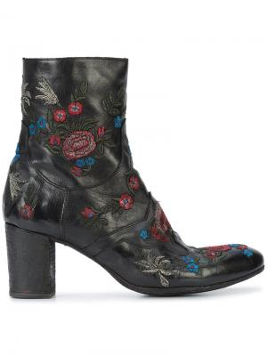 Embroidered flowers ankle boots Fauzian Jeunesse. Цвет: чёрный